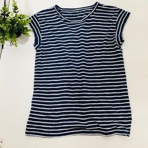 Talbots medium blue white stripes top